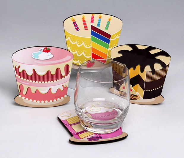 Cake Coasters (Set/4)<BR><span class=bluebold>(Personalize)